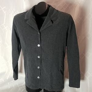 Garnet Hill grey cotton stretch button up top L